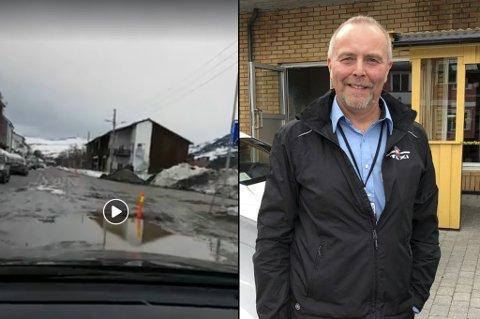 - RISIKO: - Veien ble i en slik forfatning at vi kan ikke ta risikoen på å kjøre igjennom der, sier leder av Hammerfest Taxihus AS, John-Hermann Pettersen.