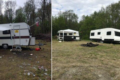 FØR OG ETTER: En klager sendte bildet til venstre til kommunen. Eier av en av campingvognene har sendt iFinnmark bildet som viser at området er ryddig nå.