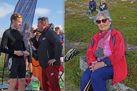 RASKEST/ELDST: Håvard Hegg Bergan gratuleres her av iFinnmarks Trond Ivar Lunga. Petra Olsen (94) er eldste som deltok.