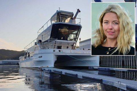 SJØSATT: Brim Explorer er snart på vei nordover til Tromsø og skal i drift i midten av oktober. Daglig leder Agnes Arnadottir (innfelt) er spent før lanseringen.