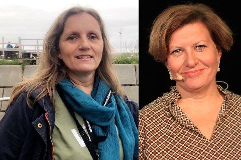 GÅR TIL HELGA: Lederen for Tana SV, Astrid Kjølås (til venstre) sier partiet hennes fortsetter samtalene med Arbeiderpartiet, og dropper Sp, Venstre, Høyre og Frp-gruppen. Aps ordførerkandidat Helga Pedersen til høyre.