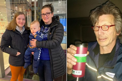 FIKK HAIK, FIKK KAFFE: Thea Seppola Kristiansen fikk haik sammen med mamma Merethe Kristiansen, fredag. I Olderfjord fikk de plukket opp Filip, som hun har på armen. Til høyre ser du yrkessjåfør Tommy Roar Gunnarsønn som endelig fikk seg kaffe fredag.
