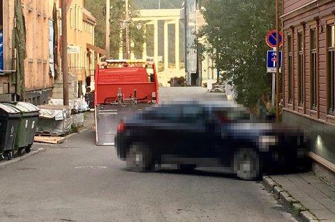 KRASJ: Politiet rykket ut til et trafikkuhell i Tromsø sentrum 6. september 2018. Det endte til slutt i tiltale mot to menn for grov narkokriminalitet.