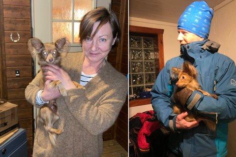 EIEREN OG REDNINGSMANNEN: Hundeeier Irina Eliassen er lykkelig gjenforent med hunden. Her ser du også redningsmann Espen Eriksen avbildet etter at han fant og hentet den.