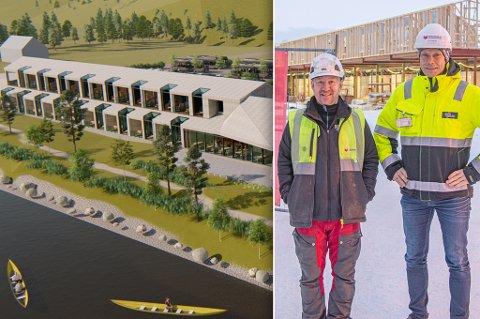 FORNØYDE: Formann Hans Kristian Solvold og prosjektleder Alf-Åge Bjørklund jobber med prosjektet i Sorrisniva, som skal bli til 24 suiter, illustrert her.