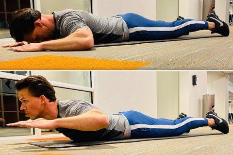 VIKTIG: Denne uka fokuserer Cornelis spesielt på at å trene rygg er viktig. Her viser han øvelsen rygghev.