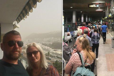 12 TIMER PÅ FLYPLASSEN: For Sunniva og Rune ble det en lang økt på flyplassen i Las Palmas.. Men noen måtte også tilbringe natta der.