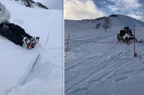 SPREKK OG STENGT: Tor Arild Guleng la ut bildet til venstre etter at han var på tur og så det dannet seg en stor sprekk i terrenget. TIl høyre ser du at en scooterløype er stengt som følge av at det har gått snøskred.