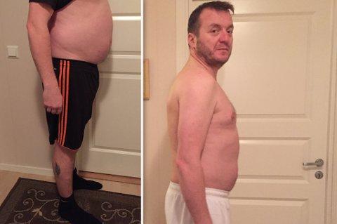 KRYMPET COLAMAGEN: Trond-Olav har jobbet intenst, og blitt i mye bedre form. Til venstre ser du han i starten av prosjektet, og til høyre slik han ser ut nå.