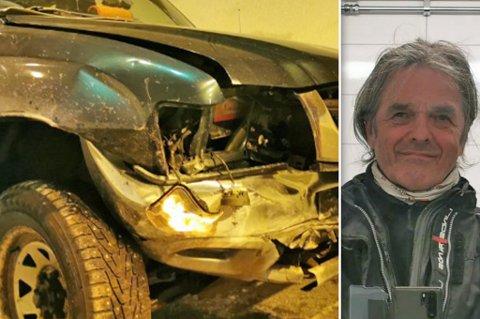 KRÆSJET: Inne i Skjåholmentunnelen skiftet føret. - Bilen slengte litt med bakenden med en gang, sier Ulf Hustad.