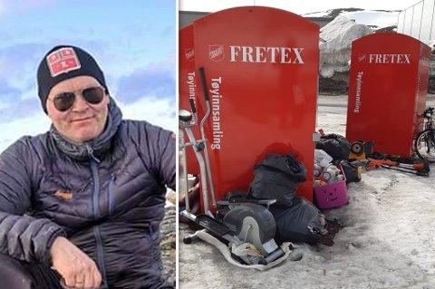 FIKK HAKESLEPP:  Odd-Arne Pedersen. er rystet over det folk har slengt fra seg på Storsvingen i Hammerfest.
