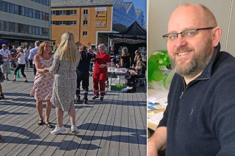 SER PÅ SMITTEVERN: - Vi jobber hardt med å se på hva som er mulig å gjenomføre innenfor smittevernreglene, sier direktør i Hammerfest Næringsforening, Espen Hansen. Her ser du bilde fra ett av fjorårets arrangement under Hammerfestdagan i sentrum.