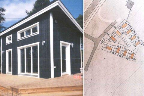 SLIK ER DET TENKT: Illustrasjon av minihus, og situasjonsplan oversendt kommunen for behandlingen av søknaden.