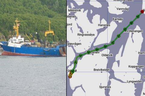 GIKK PÅ GRUNN: Den russiske tråleren Kokshaysk gikk på grunn ved Arnøya.