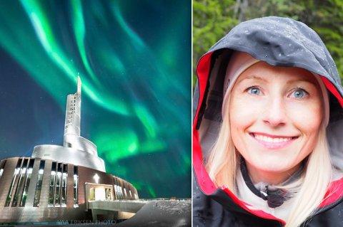 NORDLYS: Her ser du Nordlyskatedralen avbildet i passende lys, og Inger Eriksen til høyre.