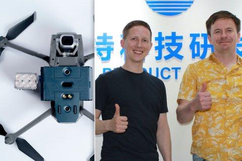 SATSER: Tor og Tim (t.h.) fra Kautokeino vil selge droneutstyr verden over.