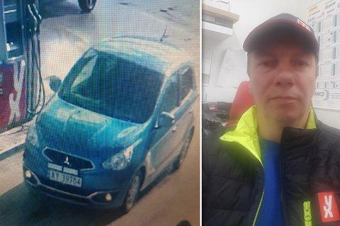 FORSVANT: Utleiebilen ble fanget på kameraet til stasjonen før den ble borte. Til høyre ser du Arne Kristian Eriksen Balto som driver YX-stasjonen i Karasjok, og leier ut kjøretøy.
