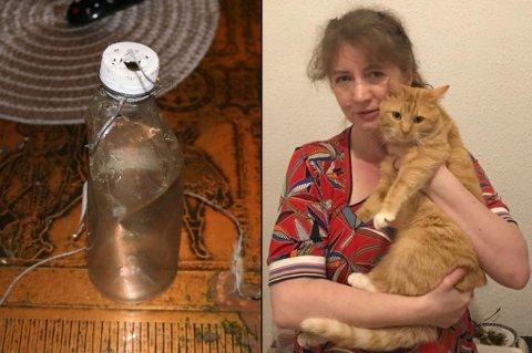 HANG FAST: Ana forteller at denne flasken og en sterk tråd var festet rundt poten til katten.