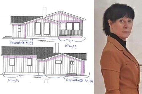 SLIK ER DET TENKT: Her ser du tilbygget til hytta, og søkeren, Berit Kirsten Sara.