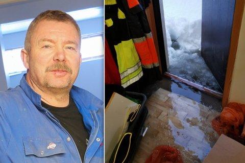 RANT INN: Her ser du smeltevannet komme inn i kjelleren til Jonny og konas hjem i Forsøl.