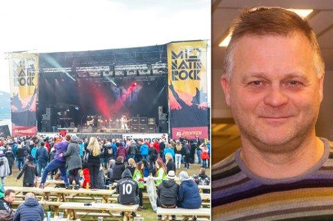 ROER LITT NED: I år arrangeres Midnattsrocken, men det blir i en noe nedskalert utgave, forteller styreleder Sten Rune Pettersen. Her ser du festivalområdet i 2017.