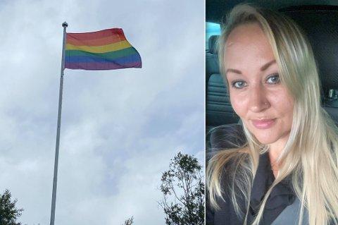 FLAGGET HJEMME: - Jeg støtter andre menneskers følelser og identitet, sier Jeanette Iren Taftø, som hengte opp regnbueflagget for omtrent en uke siden.