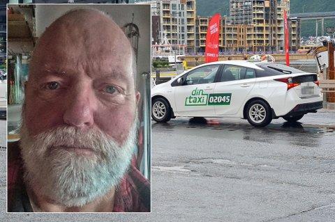 OPPGITT: Bør ikke være slik at kunden skal betale for ladingen, sier Stein Ivar Johnsen om taxituren fra UNN til Dyrøyhamn. Taxien på bildet er ikke den aktuelle taxien i saken.