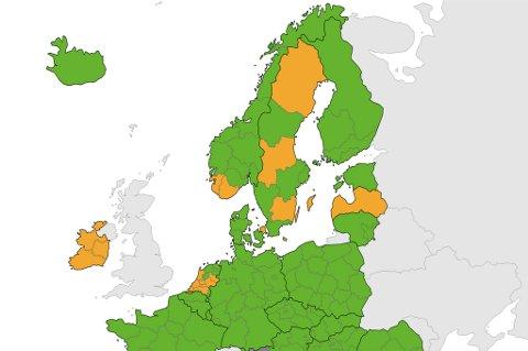 KAN BLI ORANSJE: På dette kartet er Troms og Finnmark fortsatt grønt. Det kan endre seg denne uka.