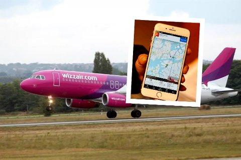 MÅTTE SNU: Et Wizz air-fly av typen Airbus A320 Neo måtte returnere til Oslo på grunn av for sterk vind på Evenes lufthavn sist fredag. På flightradar24 kunne man se hvordan flyet fra Wizz Air sirklet rundt Evenes før det returnerte til Oslo.