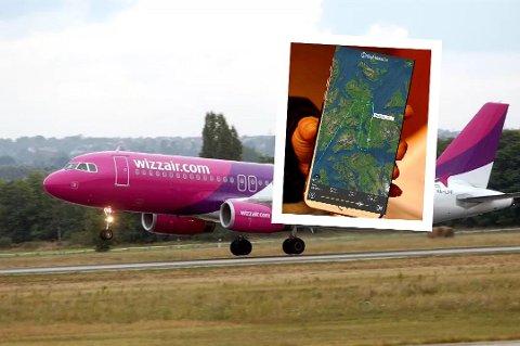 FORSINKET: Uværet gjorde at flymaskinen måtte sirkle flere runder over Evenes før den endelig kunne lande.