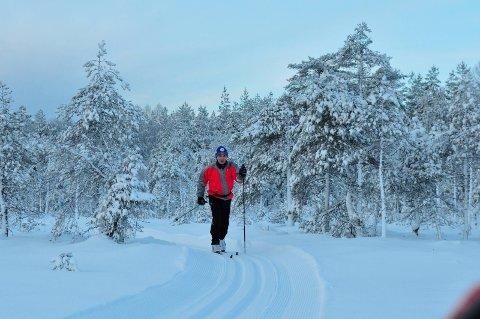 SKIFØRE: Det er kjørt opp skiløyper fra Vesle Garsjøen til Setertjern. Foto: Øivind Eriksen