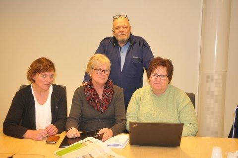 Klare for kamp: Aurskog-Hølands Sps Anne Guro Syversen (t.v.), Vera Engh, Kristin Nordby og Geir Olsen kjemper for lensmannskontoret på Bjørkelangen.