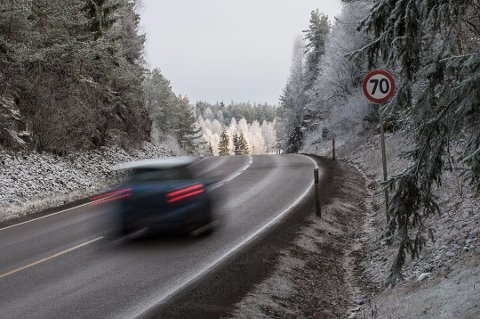 Fartsgrensen på 70 km/t mellom Heia og Mork på fylkesvei 170 brytes jevnlig, selv om det er gjennomsnittsmåling på strekningen. Arkivfoto: Vidar Sandnes