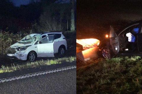 Ulykker: Bilen til venstre klarte ikke å unngå elgen, mens bilen til høyre kjørte av veien og slapp såvidt unna skogens konge.