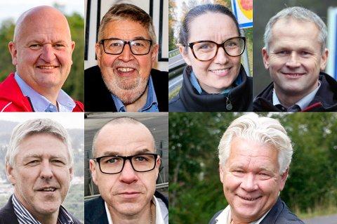 Både John Harry Skoglund (nederst til venstre) og Marianne Grimstad Hansen var blant de sju avtroppende ordførerne på Romerike som fikk etterlønn