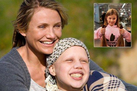 DONERER FOR ANDRE GANG: Etter at Sunniva Tjelta Søiland og moren så filmen «My Sister's Keeper» - som har med en jente uten hår, har hun selv gitt bort sine egne fletter. Forrige uke donerte hun for andre gang.