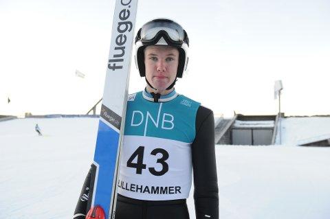 HOPPET LANGT: Ola Johannessen hoppet langt og gjorde sine saker bra i de to norgescuprennene på Lillehammer.