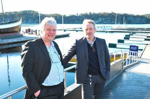 NY SPAREBANK: Banksjefene Jan Kleppe og Jon Guste-Pedersen forenes i Skagerrak Sparebank.