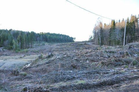 GJORT KLART: Det er ryddet og gjort klart for E18 gjennom Bamble. (Foto: Lars Løkkebø)