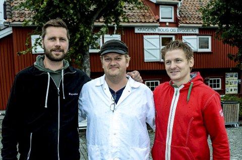 Sørvisprisen: Audun Solbekk (t.v.) fra Solbekk møbler, Kjetil Isaksen fra Europris og Roger Brubakken i Brødrene Brubakken slakterforretning representerer kandidatene i årets andre Sørvispris-delfinalen.