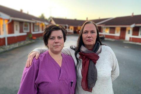 USIKKER FRAMTID: Helsefagarbeider Veronica Christoffersen (t.v.) og sykepleier Liv Jensen frykter for at kommunen legger ned mer enn halvparten av omsorgsboligene.