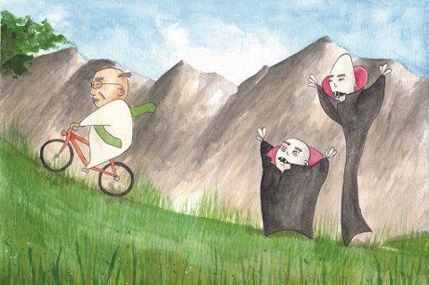 Vampyrane stel ikkje berre bestefar sine eple, dei følgjer òg etter han til kyrkja. (Teikning: Nina Flatnes Bratbak).