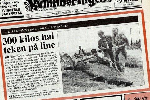Faksimile frå Kvinnheringen si framside fredag 30. juli 1982.