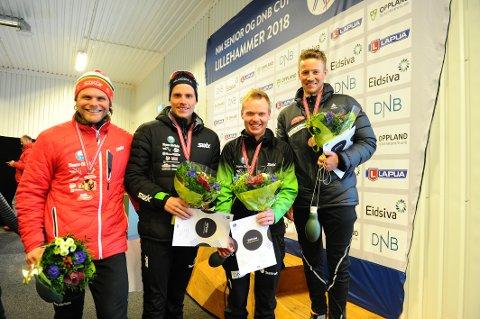 PÅ PALLEN: Martin Femsteinevik og Hordaland gikk inn til bronse i kretsstafetten. Thomas Fenne, Erling Aalvik og Bjarte Solvang var de tre andre på laget.