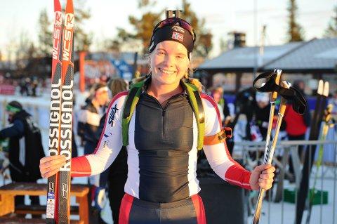 STAFETT: Ragnhild Femsteinevik gjekk svært bra då Norge blei nummer fire i singelmix-stafetten i Minsk.