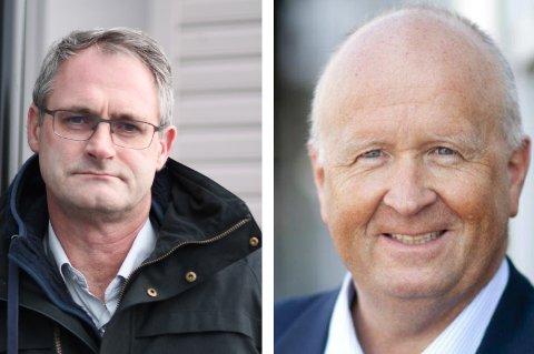 Dagleg leiar i Kvinnherad Energi, Øyvind Lernes (t.v.), meiner det er viktig at Kvinnherad har full kontroll over breibandselskapet. Konsernsjef i Haugaland Kraft, Olav Linga, hevdar det ikkje finst nokon forkjøpsrett.