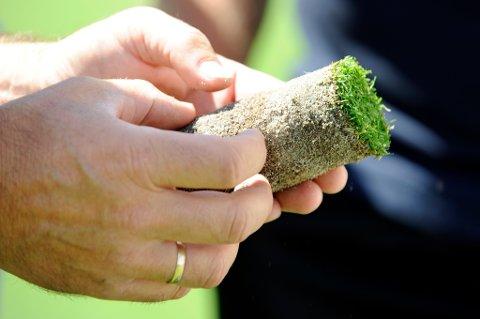 Også Kvinnherad Golfklubb haustar grasrotmidlar. Bildet er frå ei vurdering av ein jordprøve frå ein av greenane. (Arkivfoto).