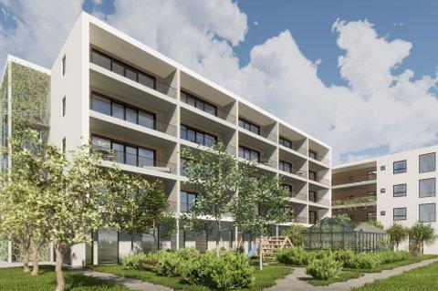 Kommunen må venta til leilegheitene er ferdige før den eventuelt kan kjøpa leilegheiter i seniorsenteret.  (Arkivfoto: Illustrasjon frå ABO Plan og arkitektur)