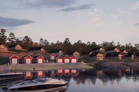 Omtrent sånn som dette ser initiativtakarane bak hyttefeltet i Gjerdsvågen føre seg det ferdige resultatet.