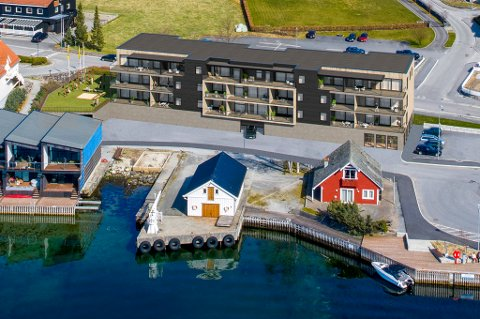 Her har utbyggjarane teikna Rosendal Bryggje inn på eit dronefoto.